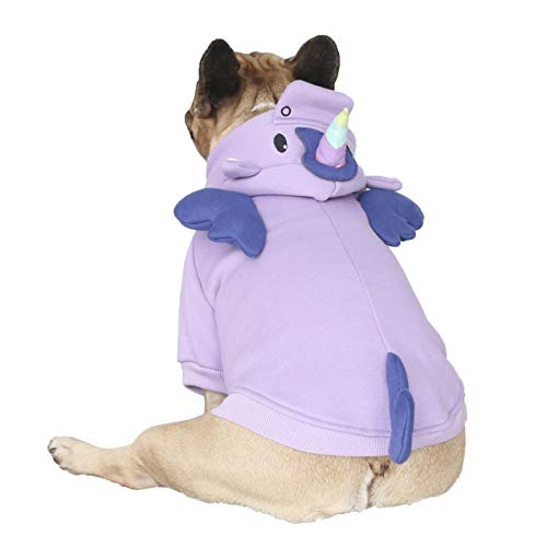 iChoue Unicorn Dog Costumes Hoodie Warm Coat Winter Clothes for French Bulldog Frenchie Shiba Inu -Purple Unicorn/M