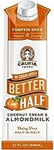 Califia Farms Pumpkin Spice Better Half Coffee Creamer, 32 oz (Pack of 6)   Coconut Cream and Almondmilk   Half & Half   Dairy Free   Plant Based   Nut Milk   Vegan   Cinnamon, Nutmeg & Ginger