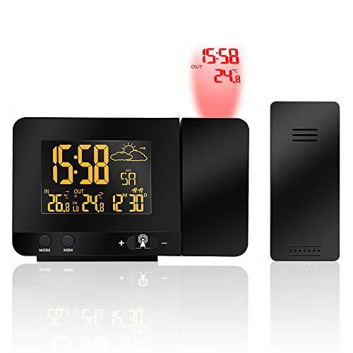 Winbang Reloj Despertador con proyección, Alarma Doble Proyector Digital Reloj HD Pantalla Colorida Retroiluminación Temperatura Pronóstico del Tiempo