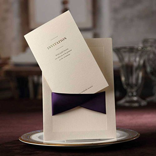 WISHMADE 20pcs Wedding Invitations Elegant Purple Ribbon with Envelopes,Stickers