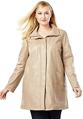 Jessica London Women's Plus Size A-Line Zip Front Leather Jacket - 12 W, New Khaki from Jessica London