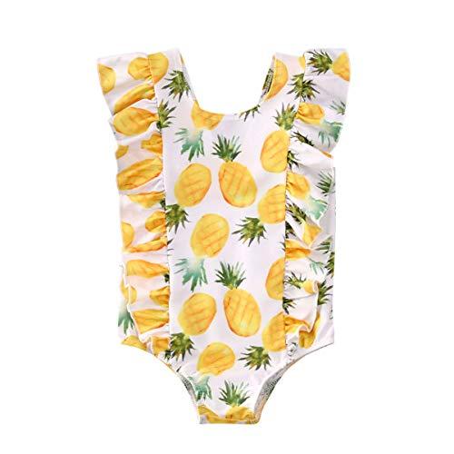 Traje de Baño para Niña Bañador Completo con Estampado de Fruta Piña Sandía Bikini Bebé sin Mangas con Volantes de Cuello Redondo Ropa de Natación Ropa de Playa Bebé Niña (Amarillo, 2-3 Años)
