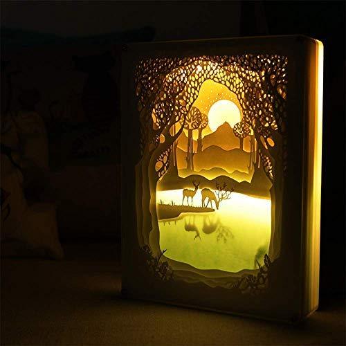Preisvergleich Produktbild 3D Shadow Box Led Licht Nacht Lampe,  Kreative Remote-Papier-Cut Light Box Schatten Licht Warme Atmosphäre Für Halloween Weihnachten