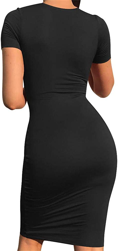 GOBLES Women's Short Sleeve Casual Bodycon Midi Elegant Cocktail Party Dress