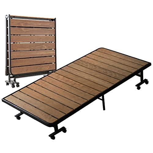 エムールベッドすのこベッド折りたたみベッドすのこシングル組立不要耐荷重約200㎏キャスター付きウォルナット