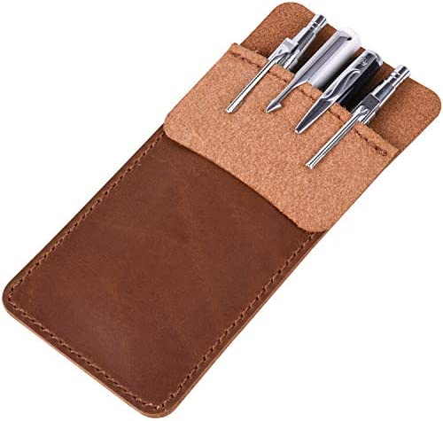 Wisdompro Genuine Leather Heavy Duty Pocket Protector Pen Holder Pouch for Shirts Lab Coats product image