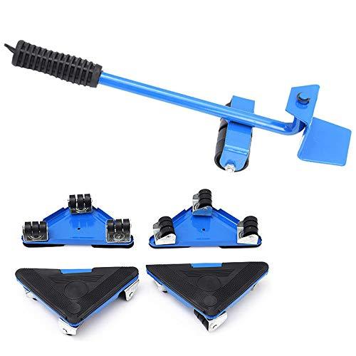 Ordioy Möbel Bewegende Räder Set, Möbeltransportheber Heavy Suffs Bewegt Werkzeug, 360-Grad Drehbarer Pad, Max Auf 150Kg,Blau