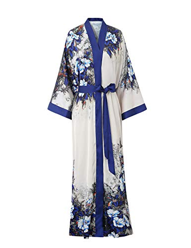 Escalier Damen Morgenmantel Sommer Maxi Lang Kimono Blumen Muster Bademantel Vintage Langarm Strandkleid Strickjacke fur Mutterschaft