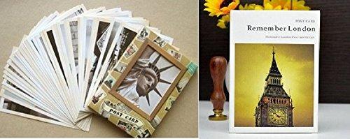 【ELEEJE】ヴィンテージ風 超オシャレ!! ポストカード 2個セット (62枚) sk8 レトロ 世界観光地 イギリス ロンドン カード はがき