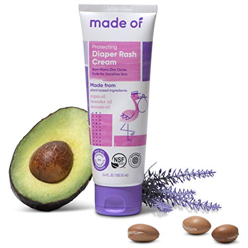Organic Diaper Rash Cream by MADE OF – NSF Organic Baby Diaper Cream with Avocado Oil & Argan Oil (Fragrance Free, 3.4oz) – Zinc Oxide Ointment and Butt Paste for Sensitive Skin & Eczema Rash