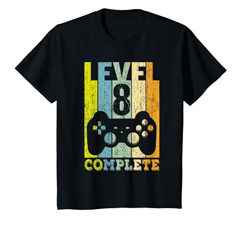 Niños 8 Años Cumpleaños Niño Niña Regalo Divertido Level 8 Camiseta