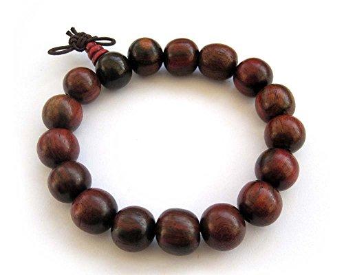 OVALBUY Tibetan Buddhist 12mm Wood Beads Japa Mala Meditation Wrist Bracelet
