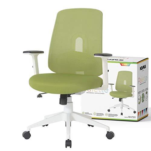 NOUHAUS Palette Ergonomic Office Chair Comfortable Swivel Computer Desk Chair, Lumbar Adjust Rolling Chair. (Green)