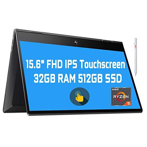 "Flagship 2021 HP Envy 15 x360 2 in 1 Laptop 15.6"" Diagonal FHD IPS Touchscreen Display AMD 6-Core Ryzen 5 4500U 32GB RAM 512GB SSD Fingerprint Backlit Wifi6 USB-C HDMI B&O Win10 + iCarp Pen"