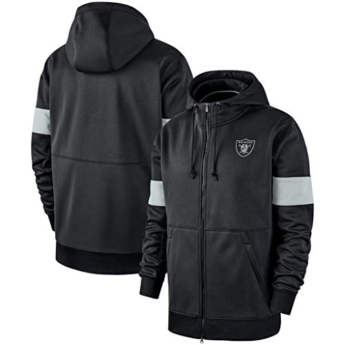 CHANGRAN Herbst/Winter Langärmlige Strickjacke Rugby Oakland Raiders Mit Kapuze Verdicken Plus-Fleece Sport-Jacke Printed Fußball Jersey,XL