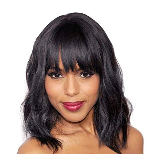 Elegant Off balck Wig With Bangs, 14 inches Short Curly Hair Womens Wigs, Charming Natural Wavy Hair Wigs (Off black)