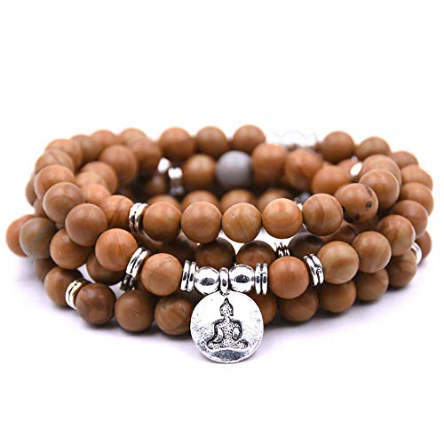Natural 108 Mala Beads Bracelet Necklace Meditation Jewelry with Yoga Charm (Wooden Grain)