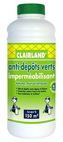CLAIRLAND Bidon Anti-Dépôts Verts et Imperméabilisant des Toitures, Terrasses, Dallages, Murs, Concentré, 1 L, CLAIRIMPER10