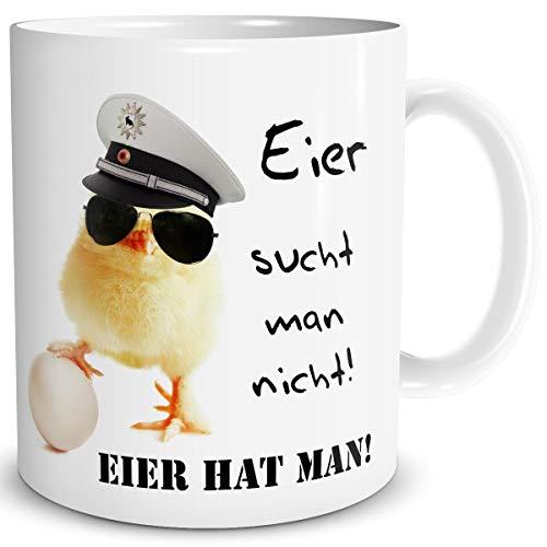 TRIOSK Tasse Polizei Küken mit Spruch Eier hat man lustig Police Edition Geschenk für Männer Frauen Kollegen Beruf Polizist Polizistin Ostern
