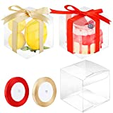 ADXCO 36 Pack Clear Favor Boxes Wedding Party Favor Boxes Plastic Favor Gift Boxes Transparent Cube Boxes for Candies, Apples, Cakes, Cupcakes, Treats, Macarons, 4 x 4 x 4 in