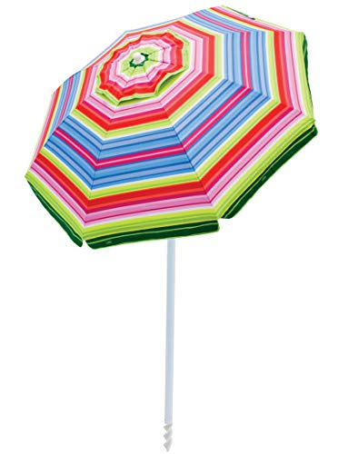 RIO Beach 6-foot UPF 50+ Beach Umbrella with Built-In Sand Anchor, Beach Club Stripes