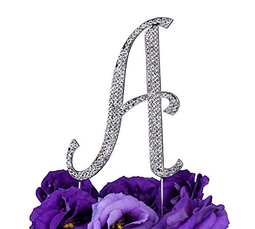 LOVENJOY Gift-Boxed 3.3' Sparkly Crystal Rhinestone Letter A Cake Topper Silver