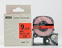 キングジム テプラPro用 互換 テープカートリッジ SC9RW(SC9Rの強粘着) 9mm 赤地黒文字