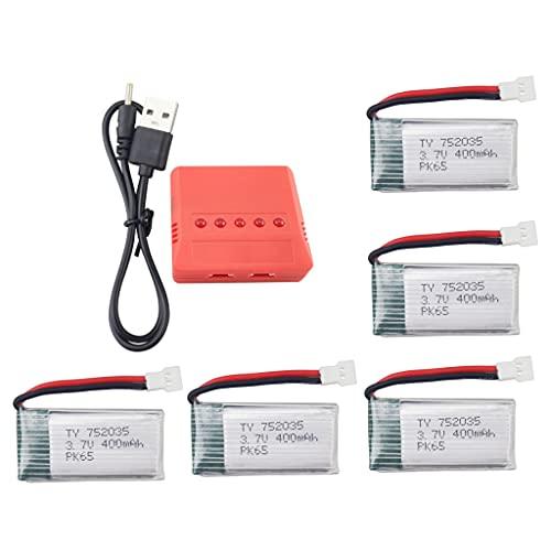 ZYGY 5PCS 3.7V 400mAh Lipo Batería y 5en1 Cargador para H99W JJRC H31 H6C H98 AT-96 TR-C385 TR-P51 TR-F22 RC Quadcopter repuestos(Rojo)