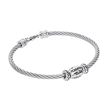 """Hallmark Jewelry Connections from Stainless Steel Celebrate Life Bracelet 7.25"""""""