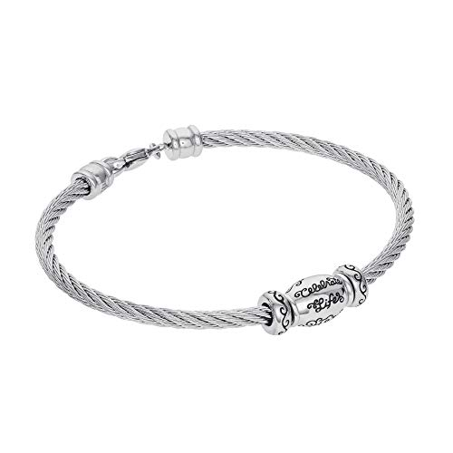"""Hallmark Jewelry Connections from Stainless Steel Celebrate Life Bracelet, 7.25"""""""