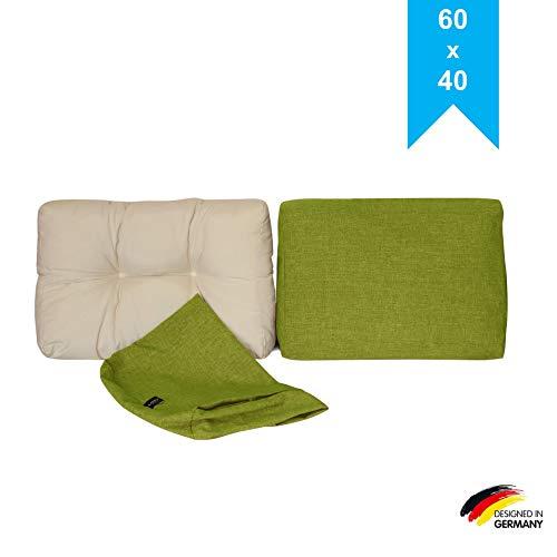 LILENO HOME Palettenkissen Bezug Grün - Ersatzbezug für Rückenkissen/Seitenkissen 60 x 40 x 10/20 cm - Polster Bezug für Europaletten - Palettenkissen Outdoor Hülle für Palettenmöbel