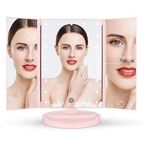 Espejo de Maquillaje con LED, Natural Iluminado Espejo de Mesa Luz con Ampliación 1X / 2X / 3X Plegable Espejo de la Vanidad Rotación 180° Pantalla Táctil Espejo Cosmético para Hombre y Mujer (Rosa)