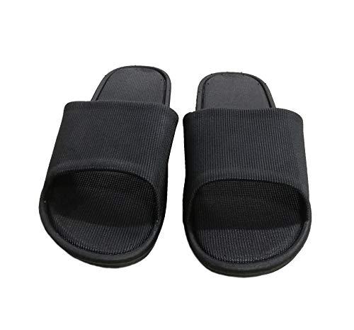 AioTio Pareja de Modelos de Dos Colores Simples Zapatillas de Moda Antideslizante Suave para el baño y en Interiores y Exteriores (40/41EU,Black)
