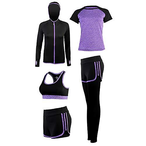 SCHUANG Frauen Yoga Anzug 5PCS Mantel Kurzarm T-Shirt BH Shorts Hosen Set Damen Sport Fitness Gym Tragen Trainingsanzüge Lila S-2XL,Purple-M