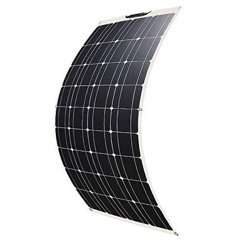 SARONIC 100W 18V 12V ETFE Flexibles Solarmodul Monokristallin Solarpanel Ladegerät Outdoor mit MC4 Ladekabel für Wohnmobil, Auto, Boot 12V Batterien