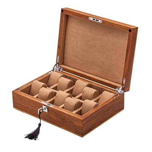 GUOOK 10 Slots Holz Frauen Uhrenbox Herrenuhr Organizer Fall mit Schlüssel und Schloss (Farbe: A)