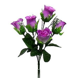 Silk Flower Arrangements Floral Décor Supplies for 5 Soft Rose Buds Bush Artificial Silk Flowers Wedding Bouquet Fake Party Decor for DIY Flower Arrangement Decorations - Color is Lavender/Lilac
