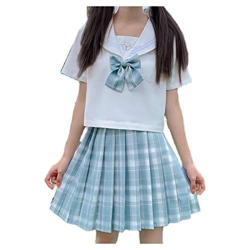 HSPHFX Azul-verde macarrn marinero traje anime colegios de anime trajes de clase uniforme conjunto de ropa vestido de camisa jk estudiante escuela cola escocs minixirt verano para hija nia doncella