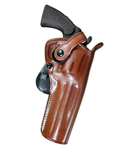 MASC Leather Paddle OWB Revolver Holster with Retention Strap Fits Colt Python 357 Revolver 6' BBL, Right Hand Draw, Brown Color #1306#