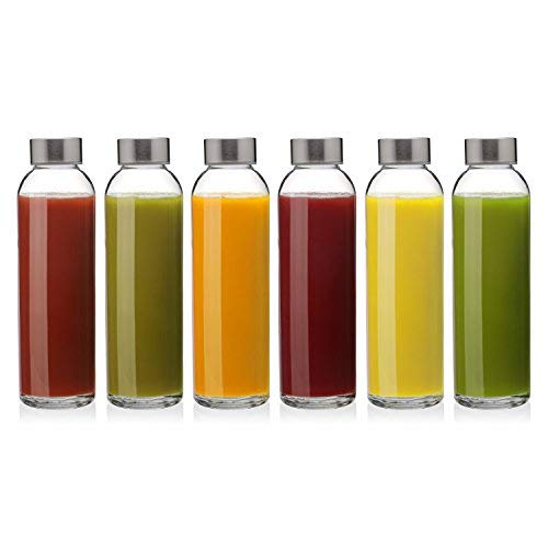 Glass Bottles (12 Water Bottles) 18 oz Capacity, Reusable Good for Kombucha, Smoothies and Juice
