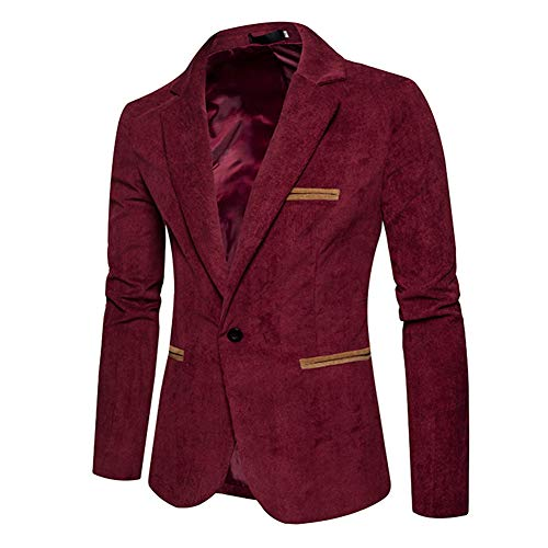 Men's Casual Suit Blazer Jackets - Lightweight Sports Coats One Button Sports Coats Red