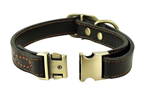 Rantow Cuero suave collar ajustable para los perros, del cuello del tamaño de 30 cm a 43cm y 2 cm de ancho, resistente cuello de cuero hecha a mano por Medio / Perros Pequeño (Negro)