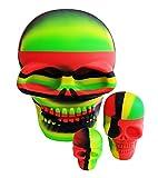 Juego de contenedores de silicona para cráneos (3 piezas) incluye: grandes 500 ml, pequeños de 15 ml y mini tarros de 3 ml. Almacenamiento antiadherente ideal para compuestos pegajosos como cera, aceites, cremas o similares (rasta negra)