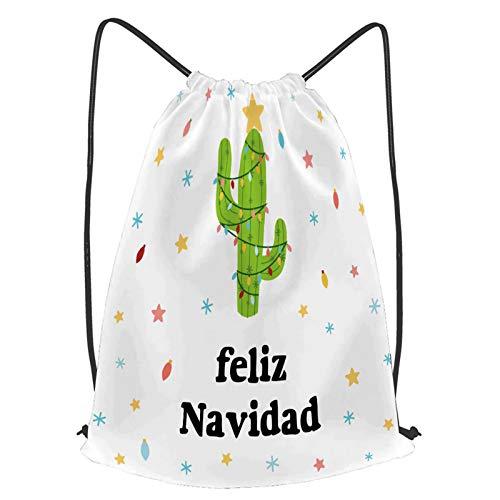 YMWEI Impermeable Bolsa de Cuerdas Saco de Gimnasio feliz navidad banner feliz cactus guirnalda Deporte Mochila para Playa Viaje Natación