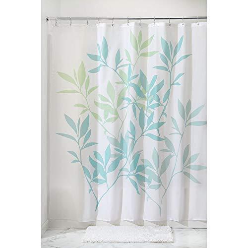 iDesign Leaves Duschvorhang   Designer Duschvorhang in der Größe 183,0 cm x 183,0 cm   schickes Duschvorhang Motiv mit Blättern   Polyester blau/grün