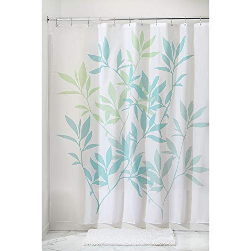 Price comparison product image iDesign Leaves Shower Curtain,  Polyester Bathroom Curtain With Leaf Motif,  Blue / Green