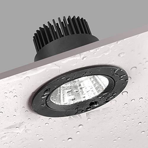 Raelf Negro IP65 Impermeable Downlight Foco baño/Ducha empotrada en el Techo Luz...