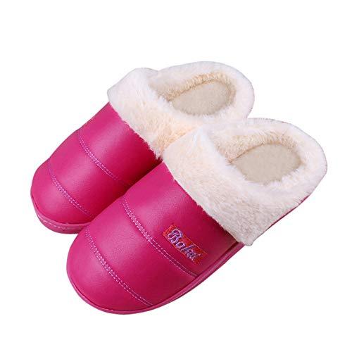 HIUGHJ Zapatillas de Invierno Zapatillas de Mujer Zapatillas de Cuero de la PU Zapatillas...