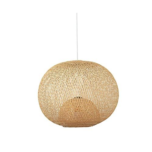 Lámpara Colgante De Techo Lámpara De Araña Colgante Sala Plafón De Techo Dormitorio Iluminación Candelabro Lámpara De Tejido De Bambú Zen Chino Creativo 35 * 35 Cm