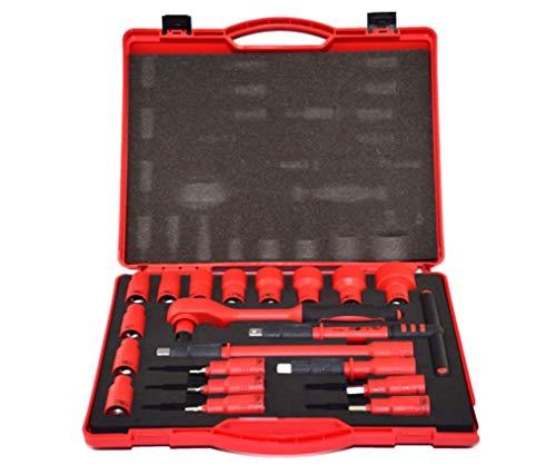 HYLH 20 STK. 1/2 VDE 1000V Isolierter Ring-Maulschlüssel-Werkzeugsatz, Lange Sechskantstange